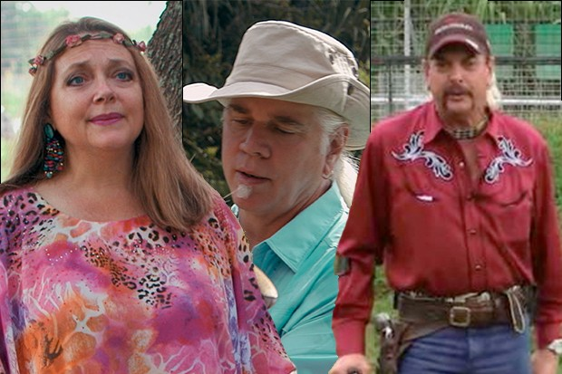 Tiger King cast (Carole Baskin, Doc Mantle, Joe Exotic)