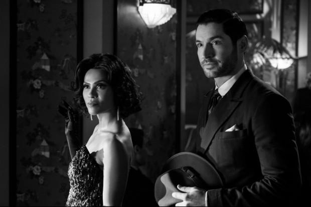 Tom Ellis and Lesley-Ann Brandt in Lucifer season five on Netflix