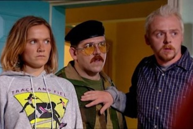 Jessica Hynes, Nick Frost and Simon Pegg in Spaced
