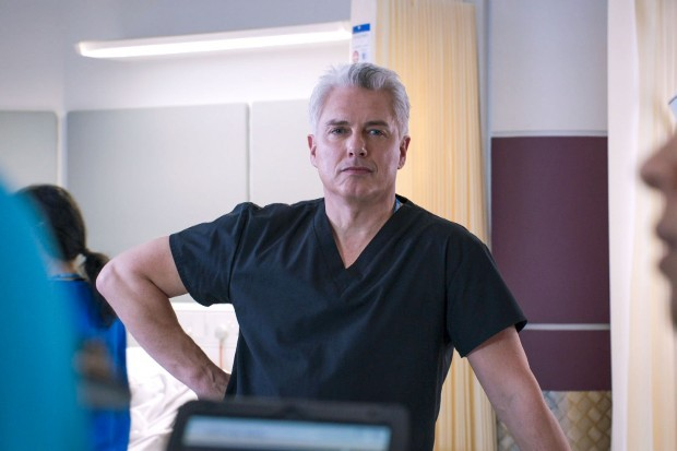 John Barrowman plays Drew Nicholson-Heath in Holby City