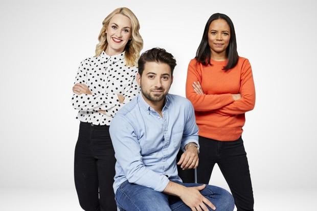 Newsround presenters, Hayley Hassall, Ricky Boleto and Leah Boleto