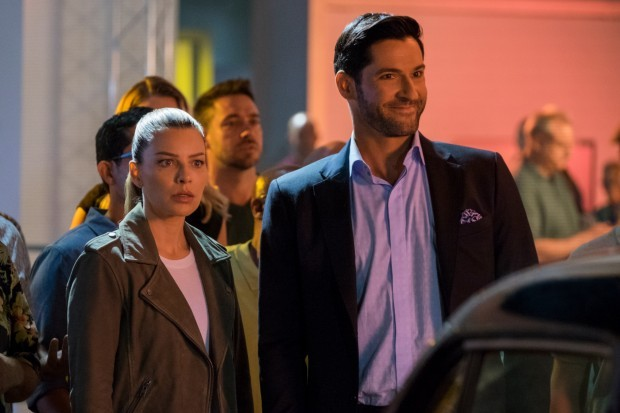 Lauren German and Tom Ellis play Chloe and Lucifer Morningstar in Netflix's Lucifer