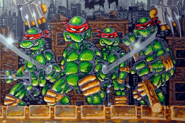 Teenage Mutant Ninja Turtles, illustrated by co-creator Kevin Eastman, ahead of Seth Rogen movie reboot