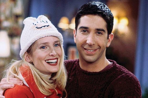 Jane Sibbett as Carol in Friends with David Schwimmer as Ross.