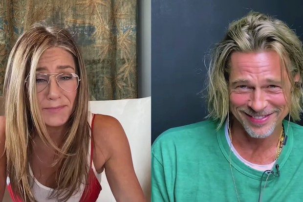 Jennifer Aniston and Brad Pitt during the virtual table read for Fast Times at Ridgemont High