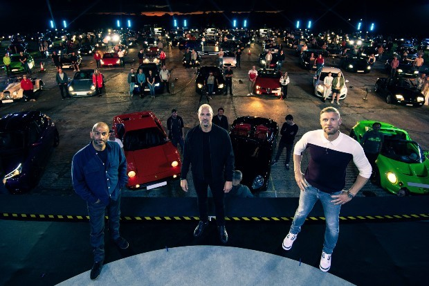 Top Gear presenters Paddy McGuinness, Chris Harris and Freddie Flintoff in front of series 29's drive-in audience