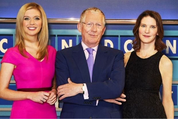 Countdown stars Nick Hewer and Susie Dent with Rachel Riley