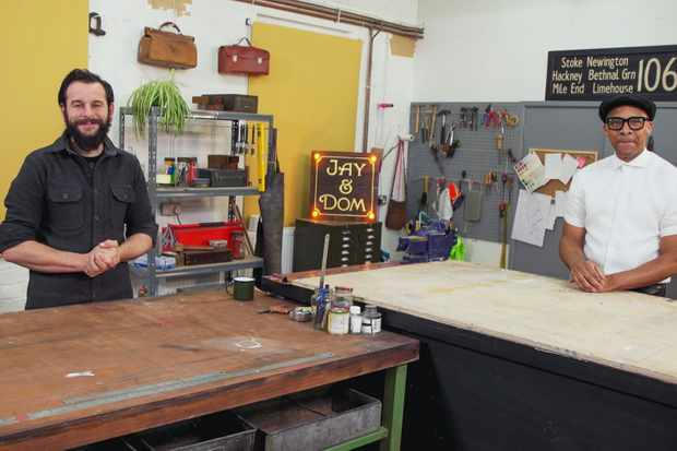 Programme Name: Jay and Dom's Home Fix - TX: 15/02/2021 - Episode: Jay and Dom's Home Fix - ep1 (No. 1) - Picture Shows: in the Home Fix workshop Dom Chinea, Jay Blades - (C) BBC Studios - Photographer: Grab