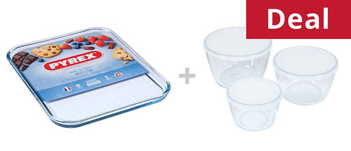 Pyrex Cook & Freeze Round Containers Set of 3 + Pyrex Classic Bake & Enjoy Tray, Bundle of 2