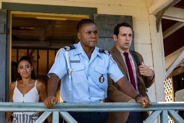 Tobi Bakare in his final episode of Death in Paradise