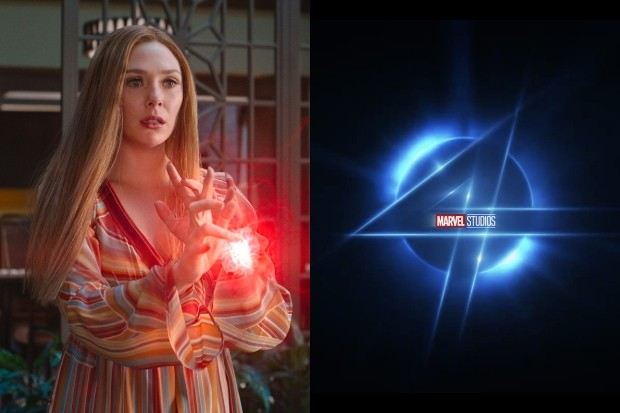 Elizabeth Olsen's Wanda with the Fantastic Four logo (Marvel)