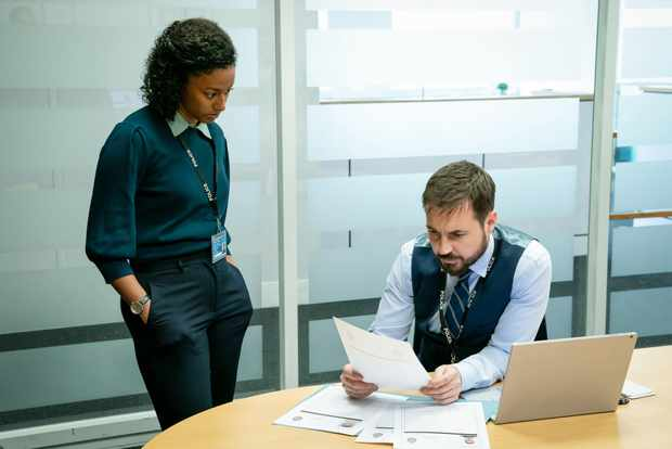 DC Chloe Bishop with DS Steve Arnott in Line of Duty S6
