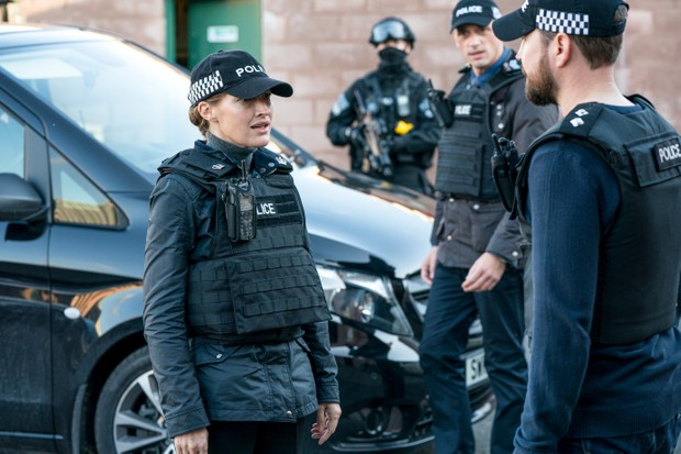 WARNING: Embargoed for publication until 00:00:01 on 13/04/2021 - Programme Name: Line of Duty S6 - TX: n/a - Episode: Line Of Duty - Ep 5 (No. n/a) - Picture Shows: *NOT FOR PUBLICATION UNTIL 00:01HRS, TUESDAY 13TH APRIL, 2021* DCI Joanne Davidson (KELLY MACDONALD), DS Chris Lomax (PERRY FITZPATRICK), DI Steve Arnott (MARTIN COMPSTON) - (C) World Productions - Photographer: Steffan Hill