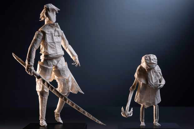 Nier Replicant's Emil and the Protagonist in stunning origami form.