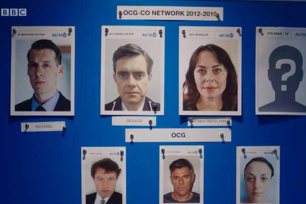 The H suspect pinboard in Line of Duty