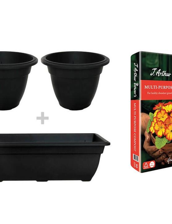 Whitefurze Bell Black Planters + Trough + J. Arthur Bower's 50L Compost Bundle
