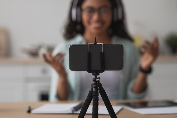 Devices for remote work at home, shooting video blog, new normal