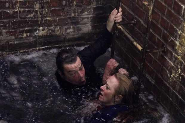 FROM ITV  STRICT EMBARGO - No Use Before Tuesday 12th October 2021  Coronation Street - Ep 10463  Friday 22nd October 2021 - 2nd Ep  As the water below continues to rise, Johnny Connor [RICHARD HAWLEY] and Jenny Connor [SALLY ANN MATTHEWS]  scream for help clinging to the ladder,  Picture contact David.crook@itv.com   Photographer - Mark Bruce  This photograph is (C) ITV Plc and can only be reproduced for editorial purposes directly in connection with the programme or event mentioned above, or ITV plc. Once made available by ITV plc Picture Desk, this photograph can be reproduced once only up until the transmission [TX] date and no reproduction fee will be charged. Any subsequent usage may incur a fee. This photograph must not be manipulated [excluding basic cropping] in a manner which alters the visual appearance of the person photographed deemed detrimental or inappropriate by ITV plc Picture Desk. This photograph must not be syndicated to any other company, publication or website, or permanently archived, without the express written permission of ITV Picture Desk. Full Terms and conditions are available on  www.itv.com/presscentre/itvpictures/terms