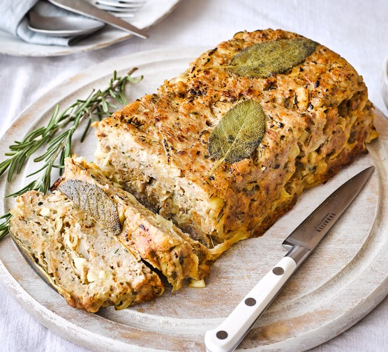 Sausage, sage and onion stuffing on board