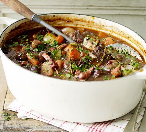 Beef bourguignon in casserole dish