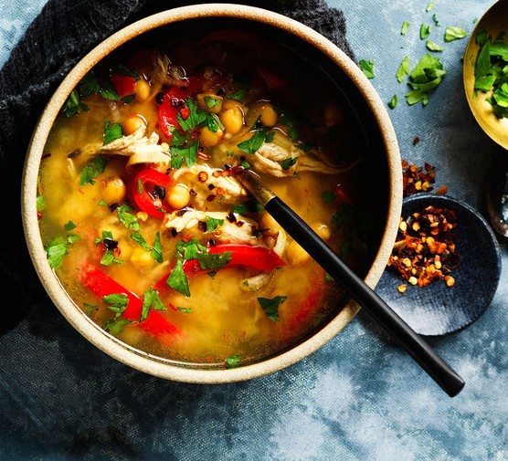 Turkey soup in bowl with spoon