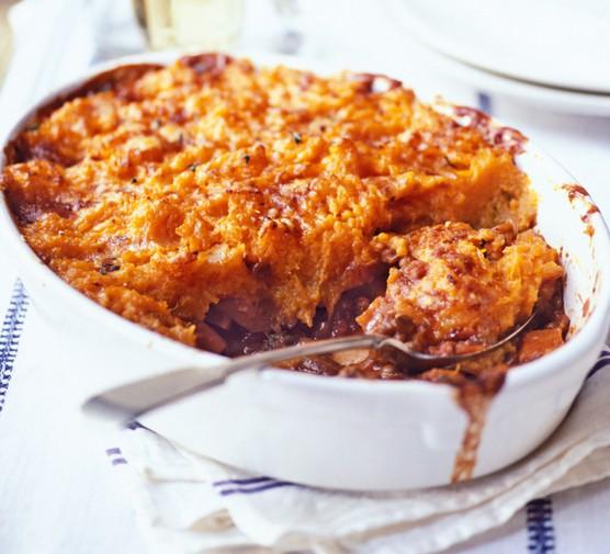 Veggie shepherd's pie in dish with spoon