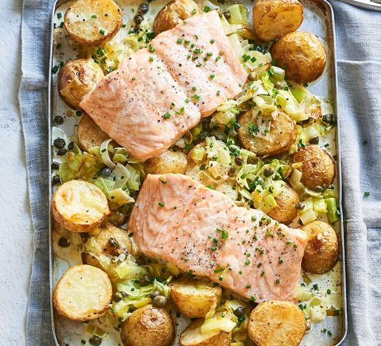 Two salmon fillets with new potato traybake