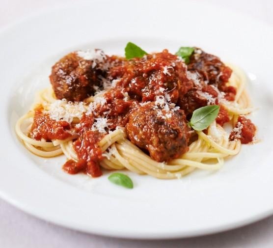 Meatballs and spaghetti on plate