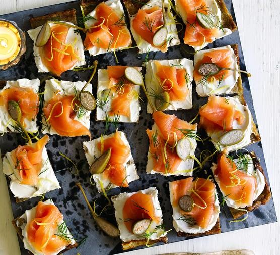 Smoked salmon potato cakes on serving board
