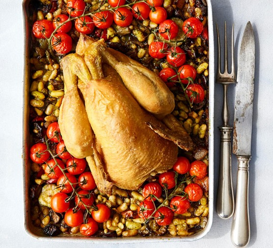 Summer roast chicken with tomatoes