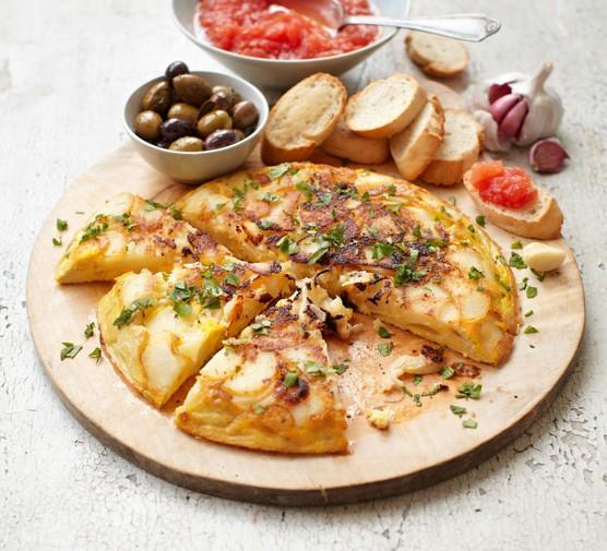 Spanish tortilla on a tapas board
