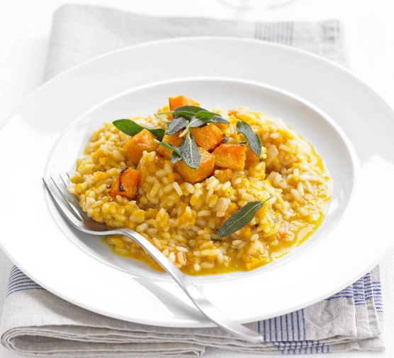 Butternut squash risotto on a plate