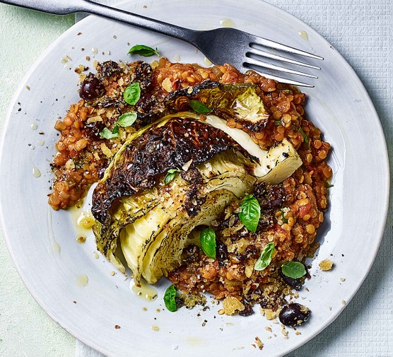 Italian roast cabbage and rice on a plate