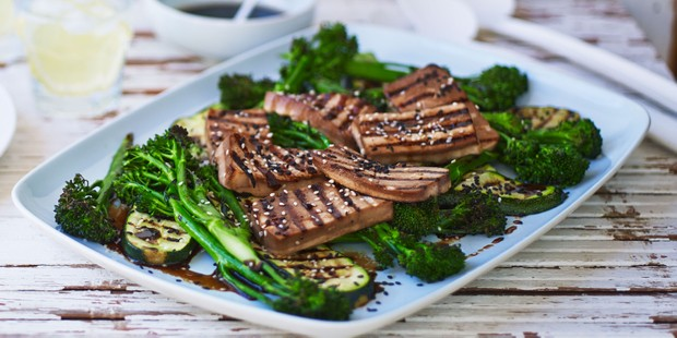 Chargrilled pieces of tofu with pan choi