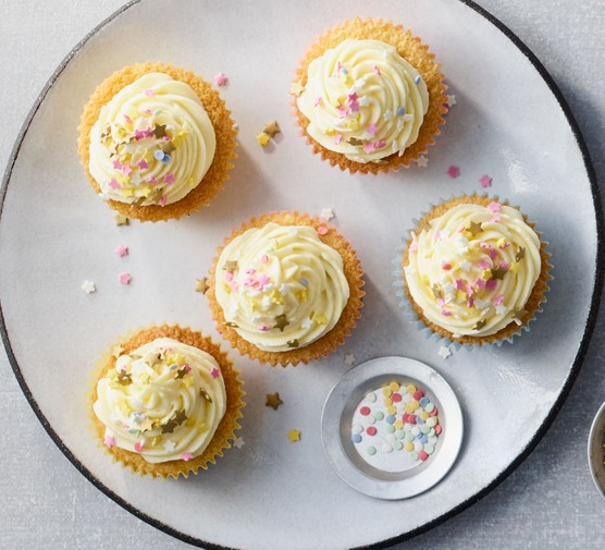 Cream cheese frosting on cupcakes