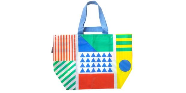 brightly coloured arty design bag