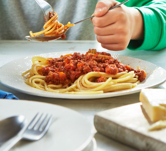 Vegetarian bolognese served on a plate