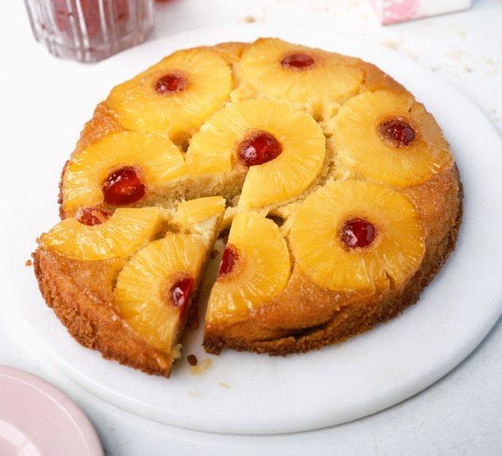 Pineapple upside down cake on a plate