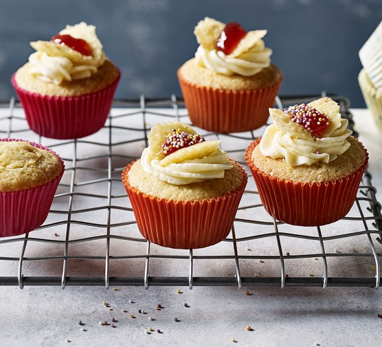 Butterfly cupcakes with jam and cream