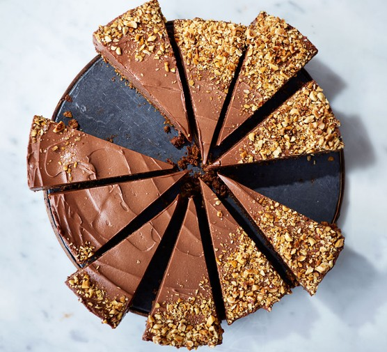 Chocolate cheesecake cut into slices