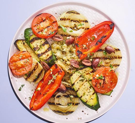 Griddled vegetable selection on plate