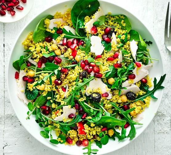 Turkey couscous salad in bowl
