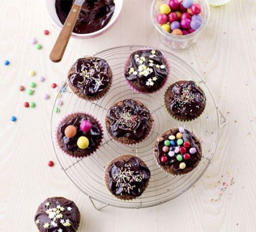 Chocolate cupcakes with multicolour sprinkles