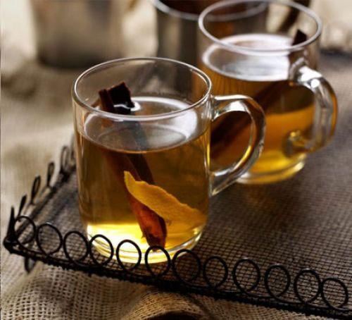 Glasses of mulled apple juice
