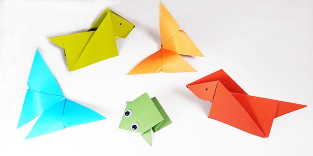 Different origami animals in coloured paper