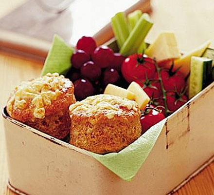 Cheese & Marmite scones in a box with fruit and veg