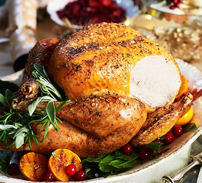Roast turkey with slice cut out
