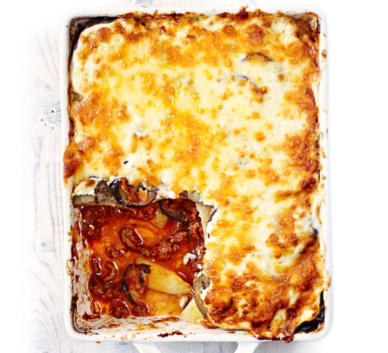 Oven-baked moussaka with a cheesy topping