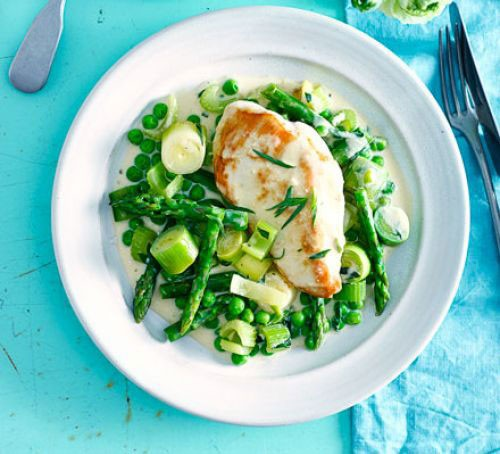 A plate with chicken breast on a bed of vibrant green vegetables with a creamy sauce