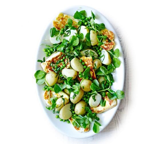 Halloumi & pea salad